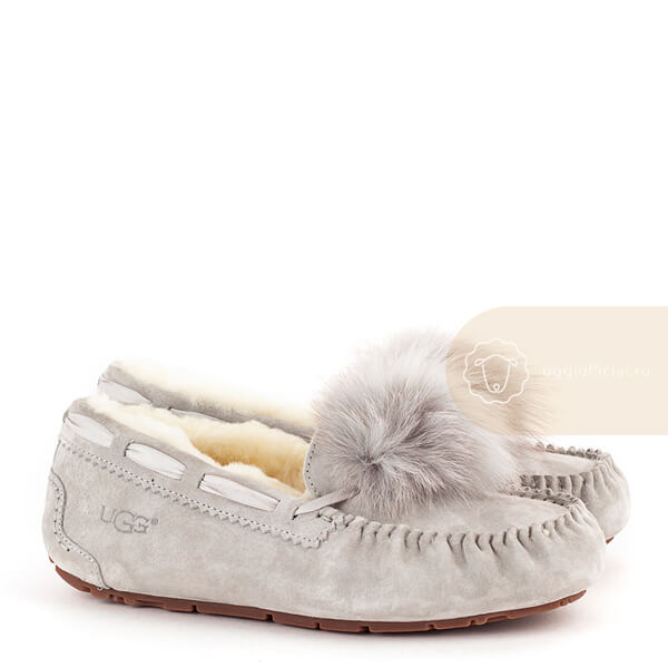 UGG Moccasins Dakota Pom Pom Light Grey
